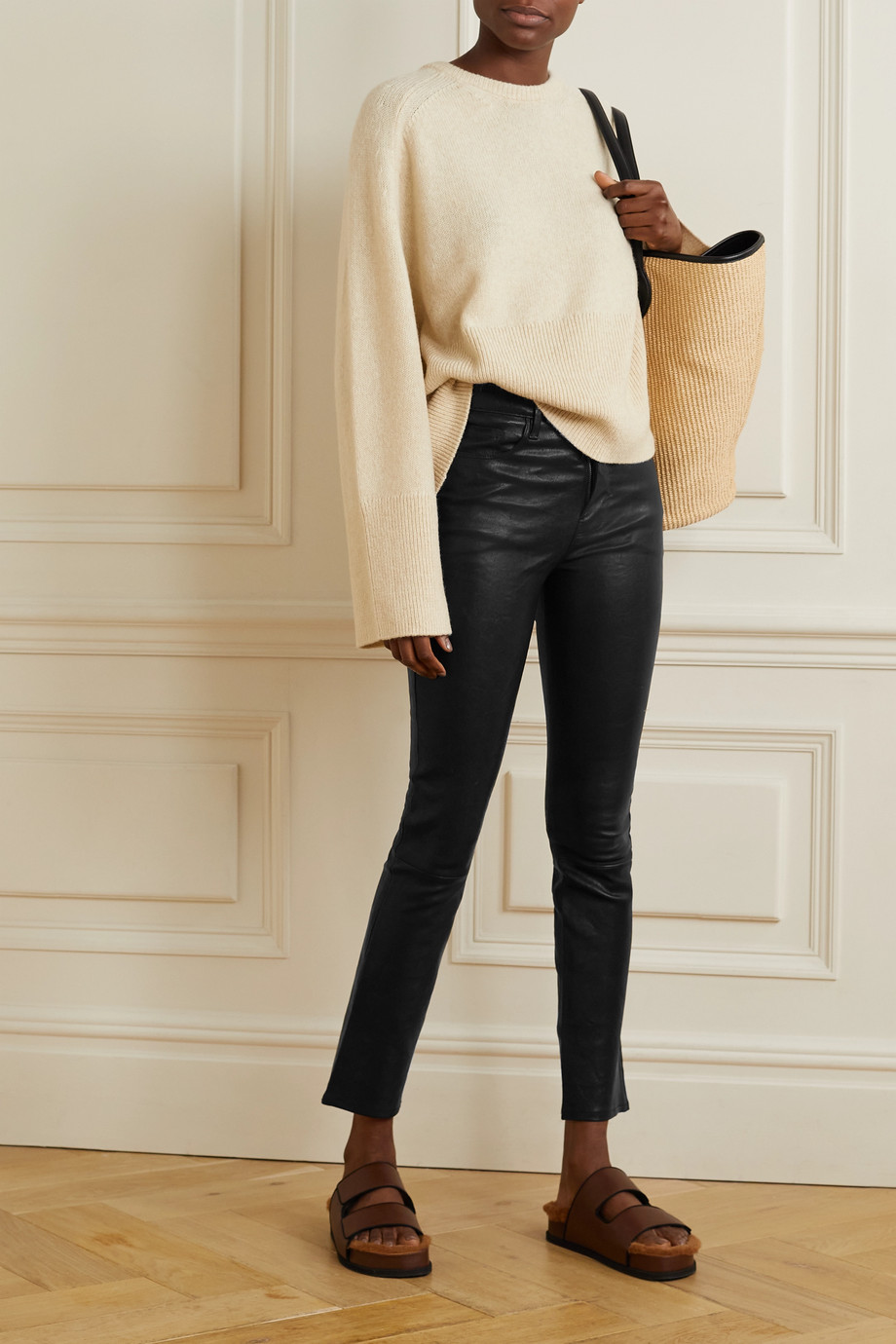 FRAME Le Sylvie high-rise slim-leg leather pants