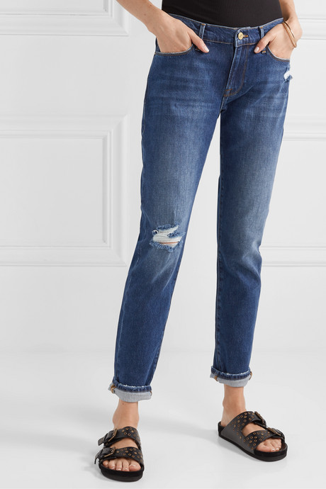 Le Garcon distressed slim boyfriend jeans