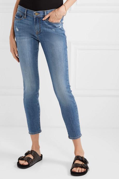 Le Skinny de Jeanne Crop distressed mid-rise jeans