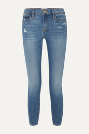 FRAME Le Skinny de Jeanne Crop distressed mid-rise jeans