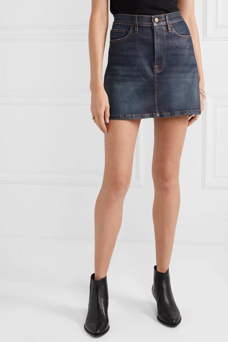 Le Mini coated stretch-denim skirt