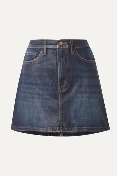 Le Mini Coated Stretch Denim Skirt by Frame