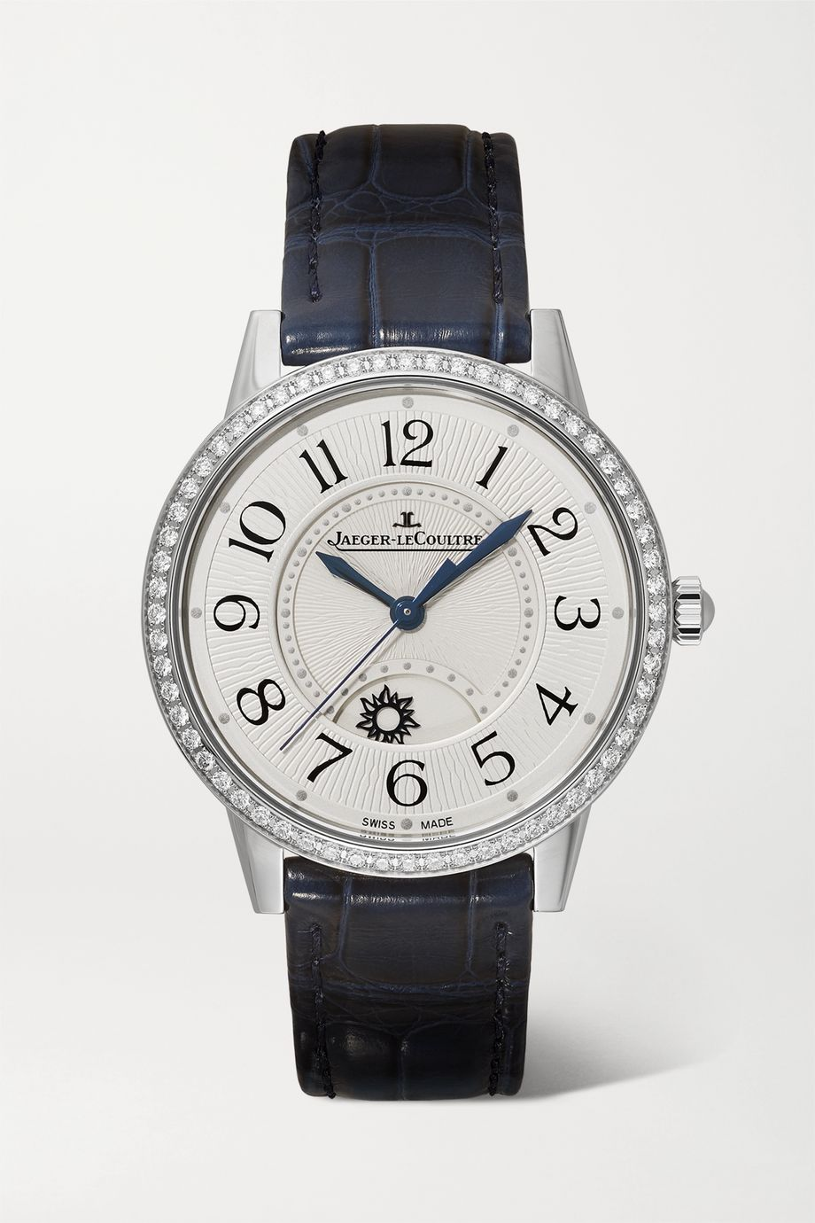 Jaeger-LeCoultre Rendez-Vous Night & Day 34mm medium stainless steel, alligator and diamond watch