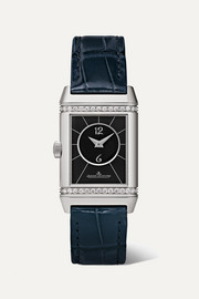 Reverso Classic Duetto 21mm small stainless steel, alligator and diamond watch