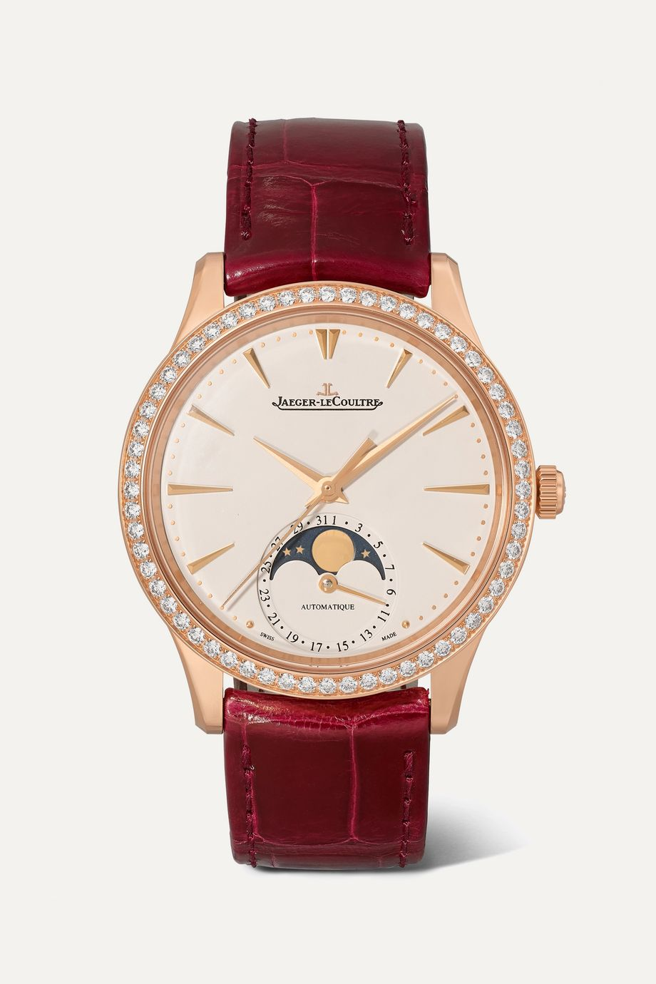 Jaeger-LeCoultre Master Ultra Thin Moon Automatic 34mm rose gold, alligator and diamond watch