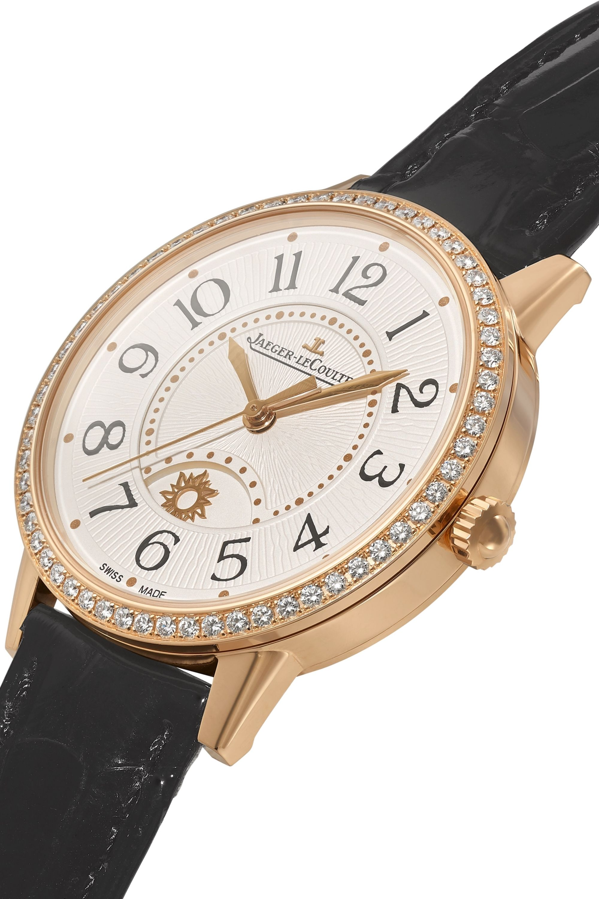 Jaeger-LeCoultre Rendez-Vous Night & Day 34mm medium rose gold, alligator and diamond watch