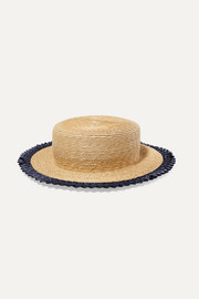 Agnes racello-trimmed straw hat
