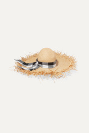 Gigi Burris Midnight Ete gingham cotton-trimmed straw sunhat