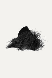 Gigi Burris Marie feather-trimmed rabbit-felt hat