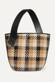 TL-180 Panier Saigon leather-trimmed checked woven raffia shoulder bag