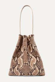 Fazzoletto snake-effect glossed-leather shoulder bag