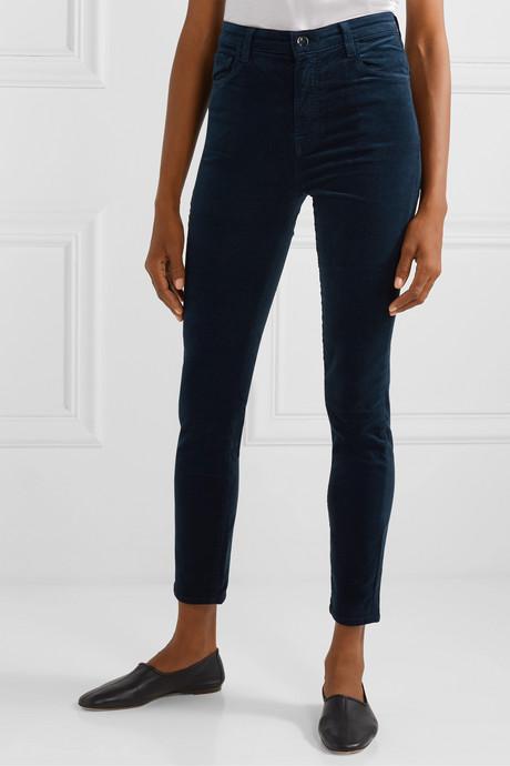 Leenah stretch cotton-blend velvet skinny pants