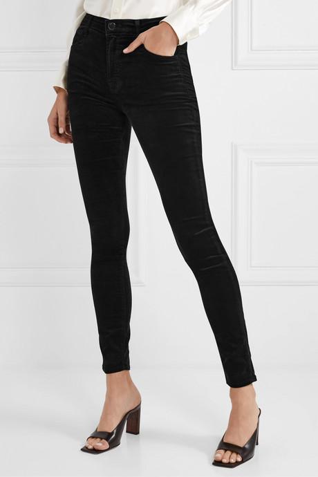 Maria cotton-blend velvet skinny pants