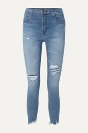 Alana verkürzte, hoch sitzende Skinny Jeans in Distressed-Optik