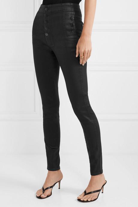 Natasha coated high-rise skinny jeans