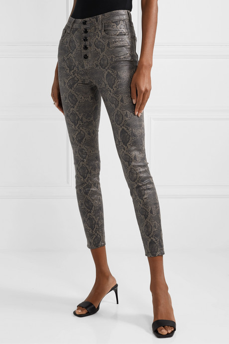 Lillie cropped coated snake-print skinny jeans