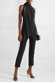 Draped silk satin-trimmed crepe jumpsuit