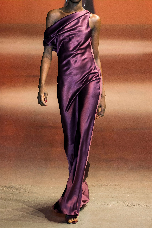 Cushnie One-shoulder draped silk-satin gown