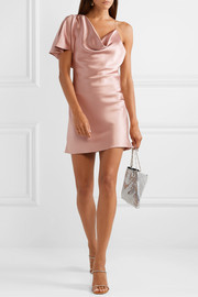 Asymmetric draped silk-satin mini dress