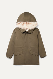 Age 8 - 12 hooded metallic shell and faux shearling-lined cotton-twill parka