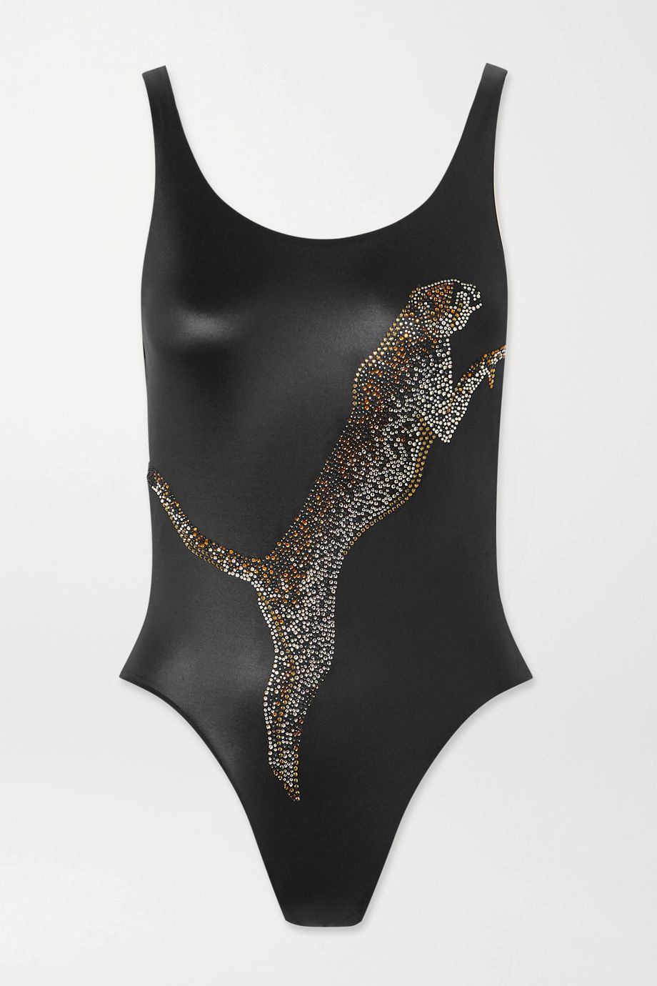 Agent Provocateur Indiana crystal-embellished stretch-satin swimsuit
