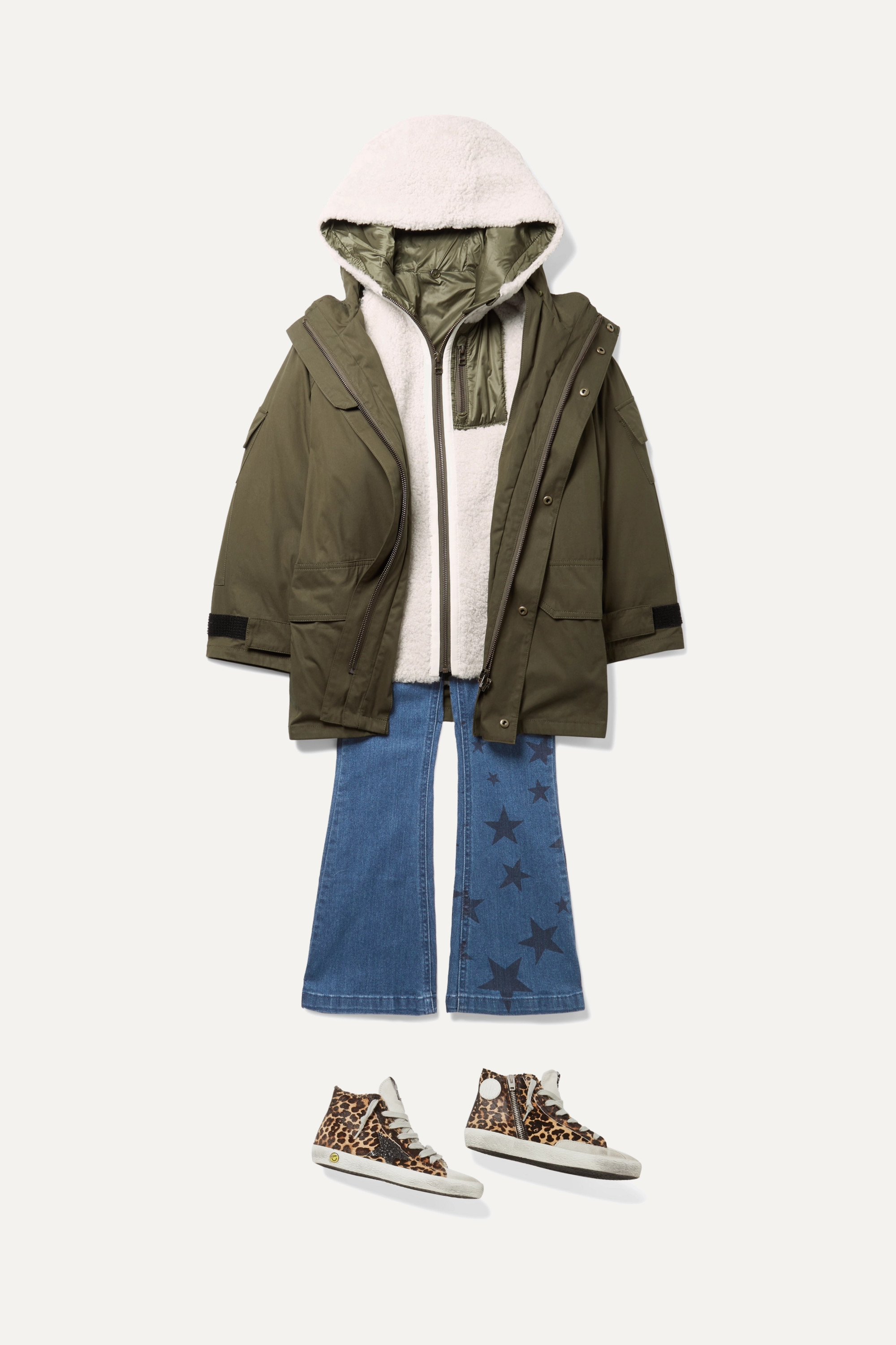Yves Salomon Kids Age 8 - 10 hooded layered cotton-blend twill and shearling parka