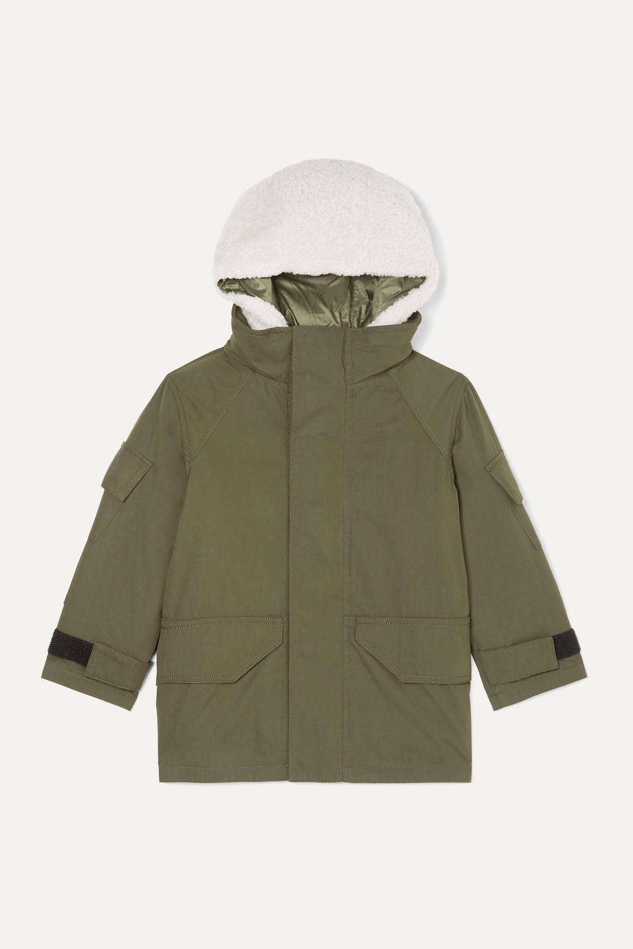Yves Salomon Kids Ages 4 - 6 hooded layered cotton-blend twill and shearling parka
