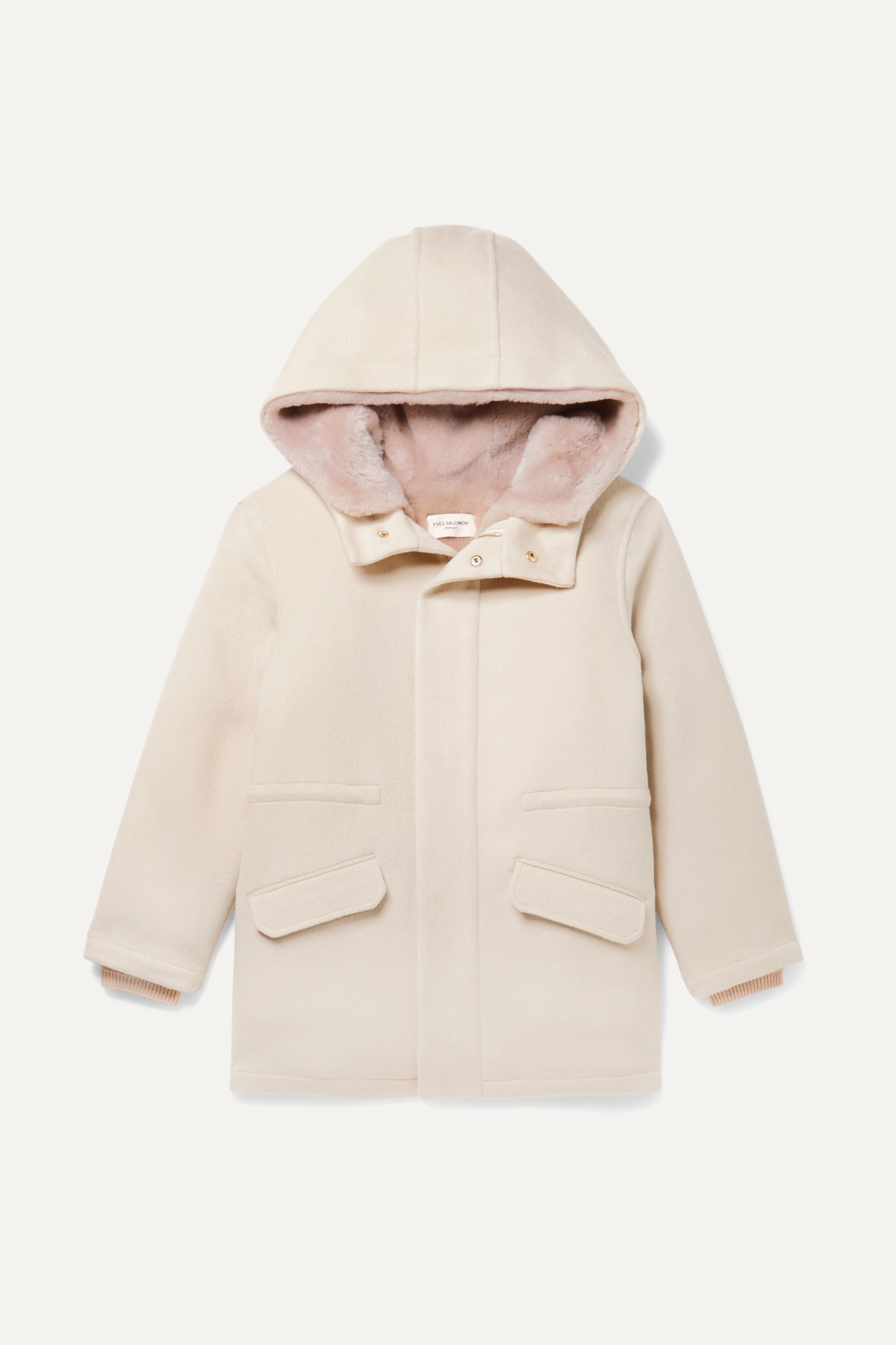 Yves Salomon Kids Ages 8 - 12 faux shearling-lined merino wool and cashmere-blend parka