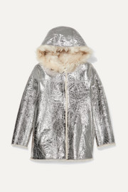 Yves Salomon Kids Age 12 reversible hooded shearling-lined metallic crinkled-leather coat