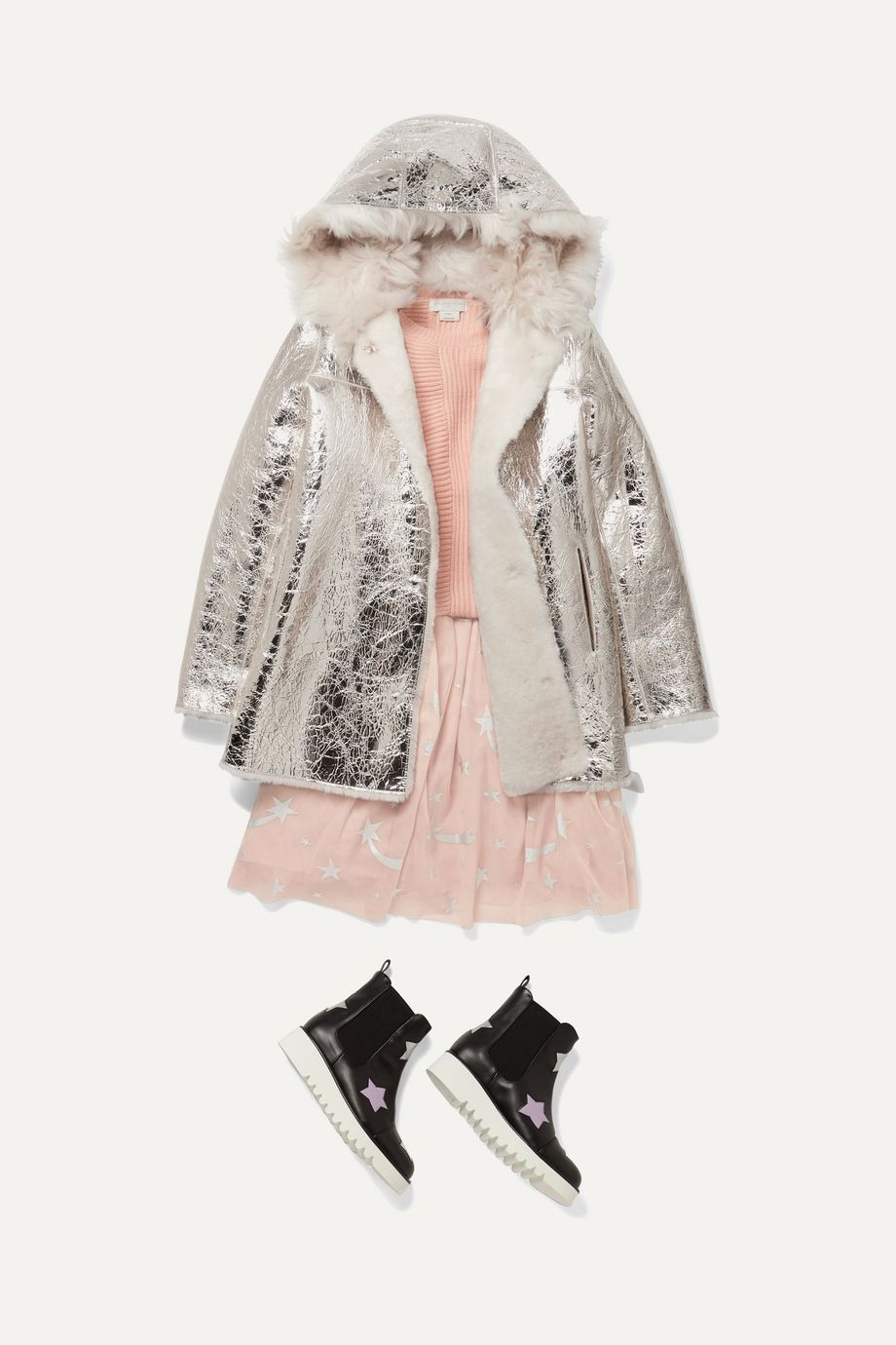 Yves Salomon Kids Ages 8 - 10 reversible hooded metallic crinkled-leather and shearling coat