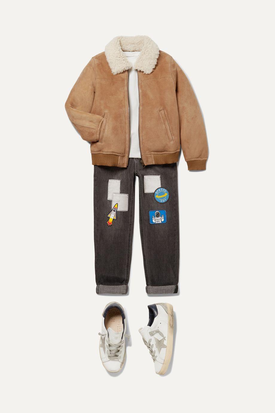 Yves Salomon Kids 【8 - 10 岁】羊毛皮边饰绒面革飞行员夹克