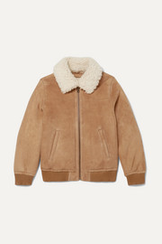 Yves Salomon Kids Age 12 shearling-trimmed suede bomber jacket