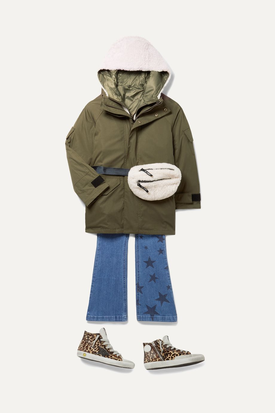 Yves Salomon Kids Shearling and canvas belt bag