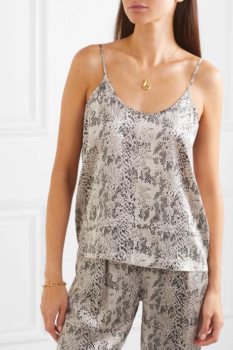 Snake-print silk-charmeuse camisole