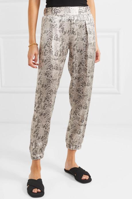 Snake-print silk-charmeuse track pants