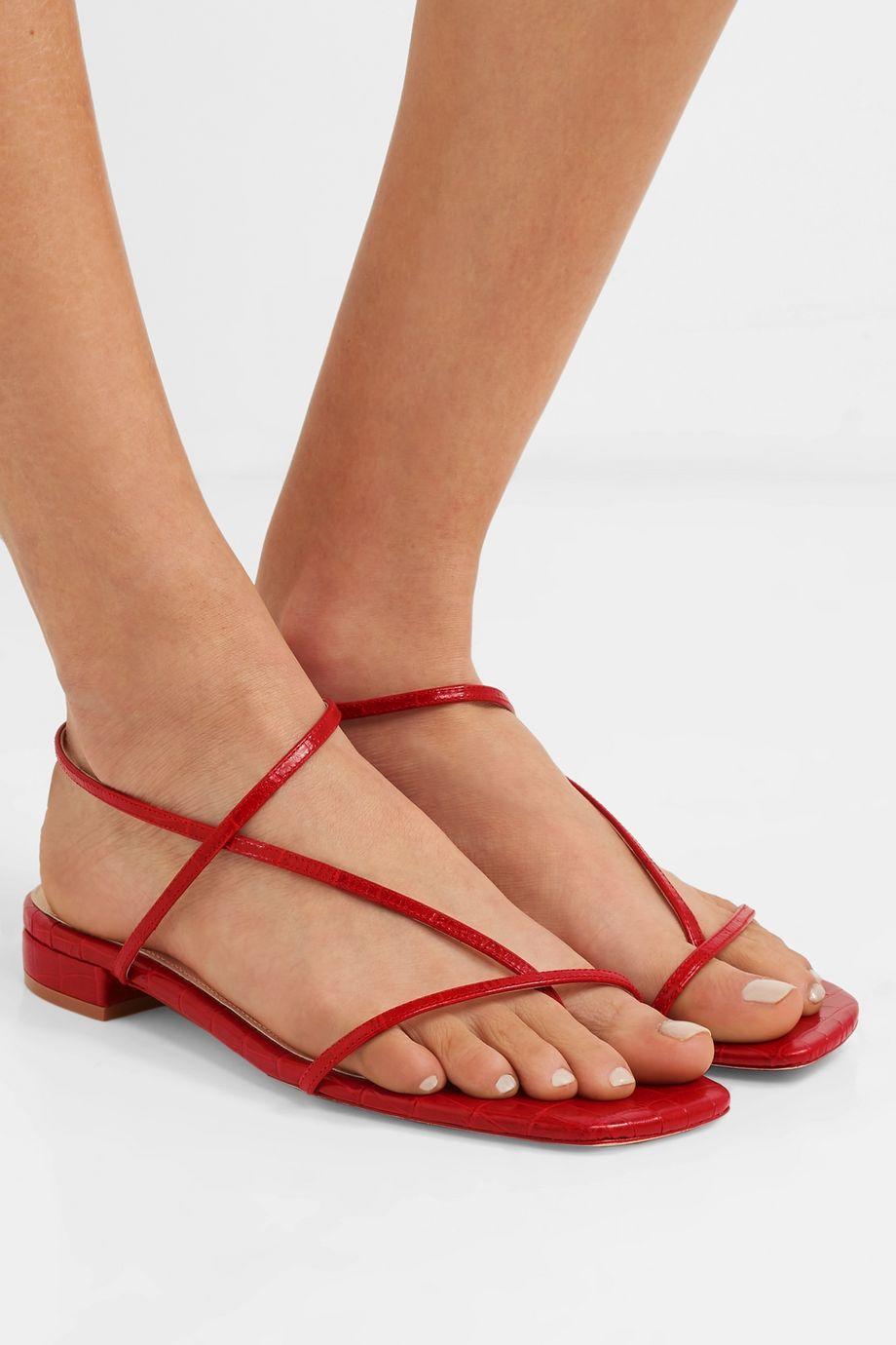 STUDIO AMELIA 1.2 croc-effect leather sandals