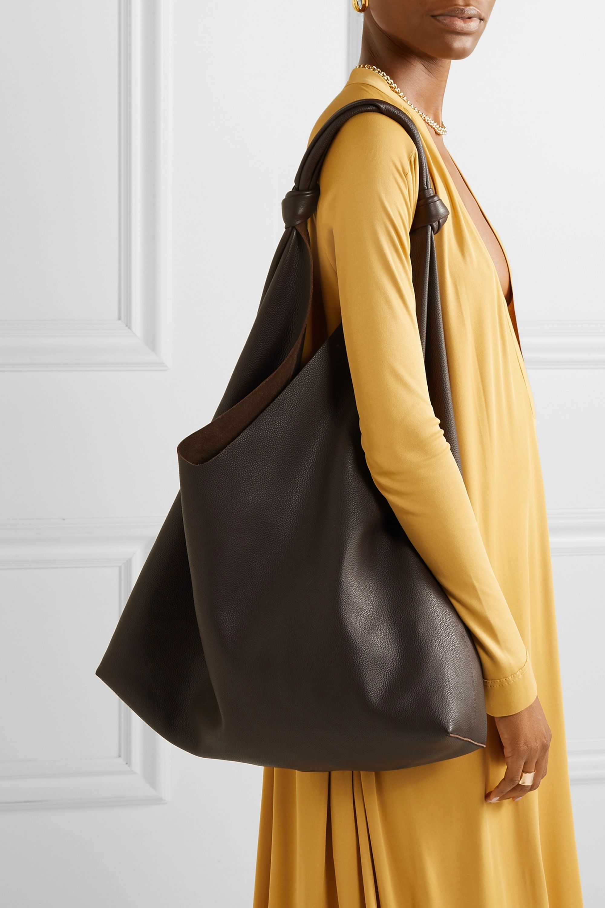 The Row Bindle textured-leather shoulder bag