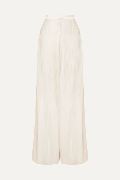 Satin Trimmed Plissé Lamé Wide Leg Pants by Rodarte