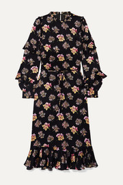 Needle & Thread Bessie ruffled floral-print satin midi dress