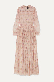 Needle & Thread Think of Me sequined shirred floral-print tulle gown