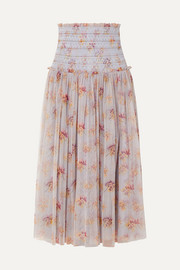 Needle & Thread Think of Me shirred floral-print tulle midi skirt