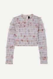 Needle & Thread Think Of Me shirred floral-print tulle top