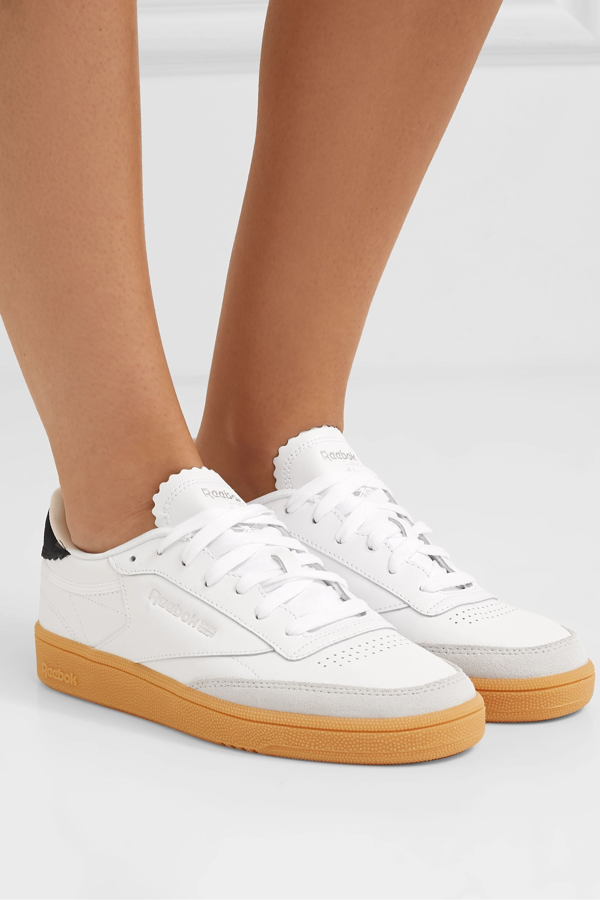 White Club C 1985 suede-trimmed leather
