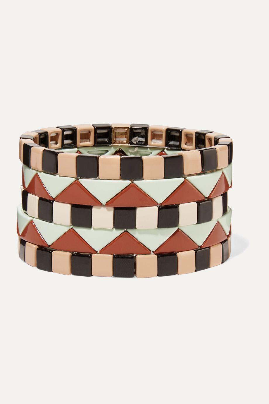 록산느 애슐린 팔찌 Roxanne Assoulin Mosaic set of five enamel bracelets,Tan