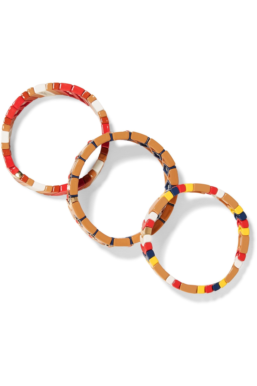 Roxanne Assoulin Milano set of three enamel and gold-tone bracelets