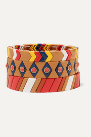 Roxanne Assoulin Milano set of three enamel and gold-tone bracelets