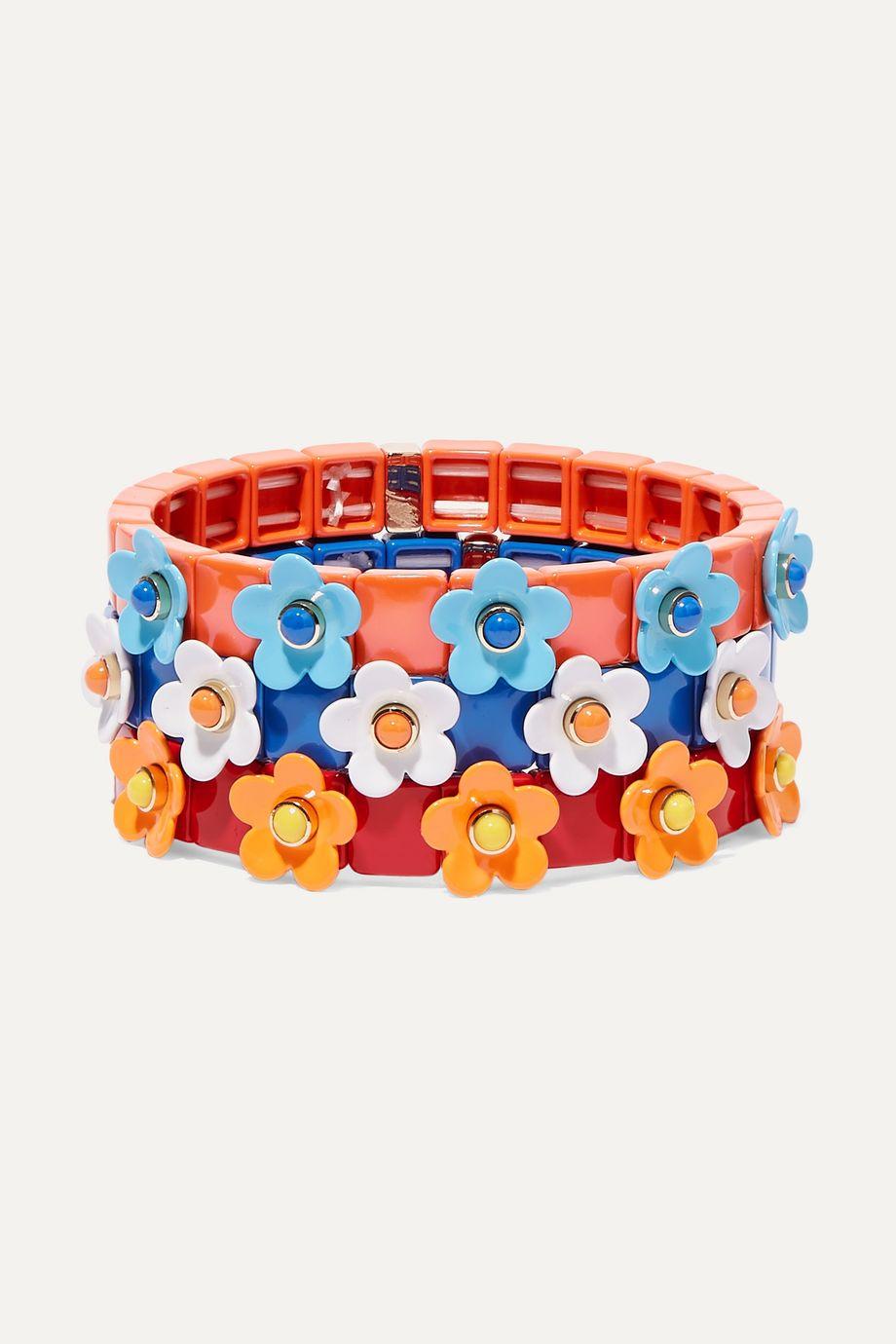 록산느 애슐린 팔찌 Roxanne Assoulin Garden Variety set of three enamel and gold-tone bracelets,Blue