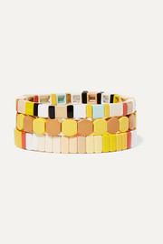 Roxanne Assoulin Butter Up set of three enamel and gold-tone bracelets