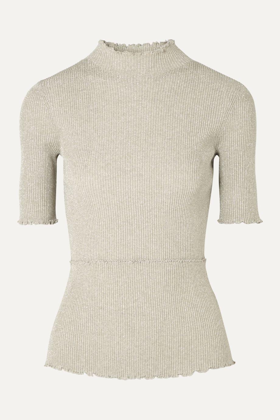 3.1 Phillip Lim Metallic ribbed-knit turtleneck top