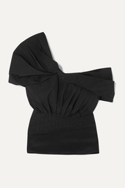 3.1 Phillip Lim Asymmetric off-the-shoulder cotton-blend taffeta and satin top